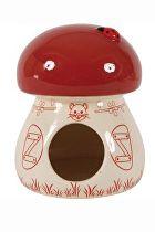 Domek pro hlodavce Houba červená 11x11x14cm Zolux