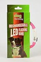 Obojek DOG FANTASY světelný USB růžový 70 cm 1ks