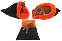 Marie Brožková Spací pytel 3v1 XL pro kočky č.5 tm.šedá/oranžová