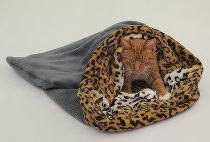 Marie Brožková Spací pytel 3v1 XL pro kočky č.13 tm.šedá/leopard
