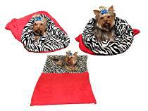 Marie Brožková Spací pytel 3v1 XL pro kočky č.6 červená/zebra