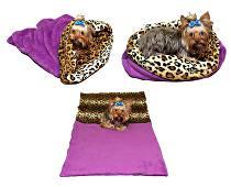 Marie Brožková Spací pytel 3v1 XL pro kočky č.1 fialová/leopard