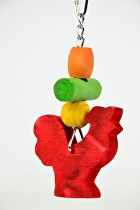Hračka pro malé papoušky Kohoutek 13cm