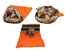 Marie Brožková Spací pytel 3v1 XL pro kočky č.2 oranžová/leopard