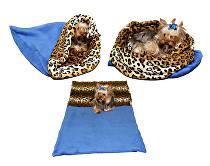 Marie Brožková Spací pytel 3v1 XL pro kočky č.8 modrá/leopard
