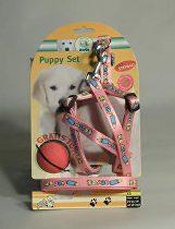 Postroj štěně nylon+vodítko 25-45cm/130cm růžové KAR