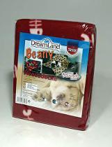 Deka pro psy fleece Beany Vínová a rybky 100x70cm TR