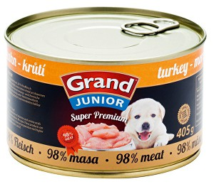GRAND konz.  Superpremium Junior pes krůtí 405g